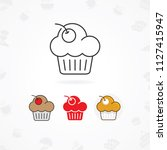 muffin icon  muffin icon with... | Shutterstock .eps vector #1127415947