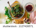 cooked boiled beetroot leaves... | Shutterstock . vector #1127428571