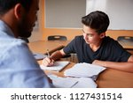 Small photo of High School Tutor Giving Male Student One To One Tuition At Desk