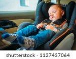 cute little baby sleeping in... | Shutterstock . vector #1127437064