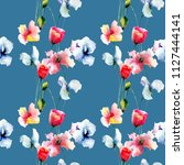seamless pattern with beautiful ... | Shutterstock . vector #1127444141