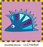 funny cartoon hedgehog | Shutterstock .eps vector #112744969