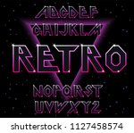 80's retro font.vector... | Shutterstock .eps vector #1127458574