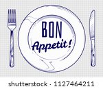 dinner plate with knife and... | Shutterstock .eps vector #1127464211