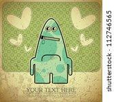 monster on retro background | Shutterstock .eps vector #112746565