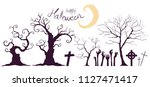 shadow halloween trees on white ... | Shutterstock .eps vector #1127471417