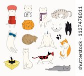 set of cute funny color doodles ... | Shutterstock .eps vector #1127478011