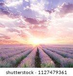 sunset sky over a summer... | Shutterstock . vector #1127479361