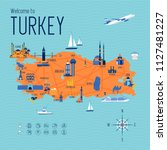 turkey cartoon travel map... | Shutterstock .eps vector #1127481227