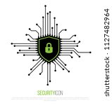 cyber security icon. shield... | Shutterstock .eps vector #1127482964