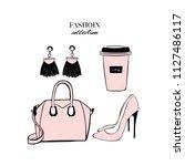 women's pink accessories set.... | Shutterstock .eps vector #1127486117