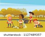 multiracial children wearing... | Shutterstock .eps vector #1127489357