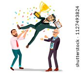 winner businessman. throwing... | Shutterstock . vector #1127493824