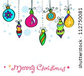 Christmas Card with cute color decorations, background for your design - stock photo