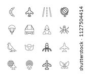fly icon. collection of 16 fly... | Shutterstock .eps vector #1127504414