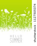 green summer meadow with grass... | Shutterstock .eps vector #1127505374