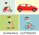 transportation set. girl rides... | Shutterstock .eps vector #1127506265
