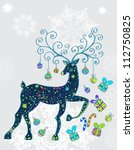 christmas deer with decorations ... | Shutterstock .eps vector #112750825
