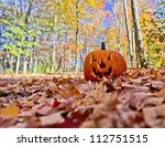 Halloween Pumpkin On Leaves In...