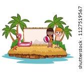 cute kids at beach | Shutterstock .eps vector #1127519567