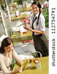 waitress waiting for woman to... | Shutterstock . vector #112754791