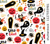 trick or treat. hand drawn... | Shutterstock .eps vector #1127555981