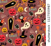 trick or treat. hand drawn... | Shutterstock .eps vector #1127555987