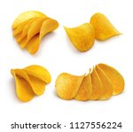 set of crunchy potato chips... | Shutterstock . vector #1127556224
