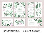 wedding card templates set with ... | Shutterstock .eps vector #1127558504