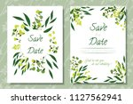 wedding invitation frames with...   Shutterstock .eps vector #1127562941