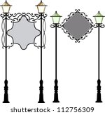wrought iron signage with lamp | Shutterstock . vector #112756309