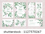 wedding card templates set with ... | Shutterstock .eps vector #1127570267