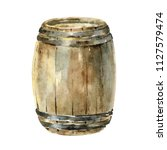 wooden wine barrel isolated on... | Shutterstock . vector #1127579474