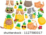 Stock vector pineapple cat vector set 1127580317