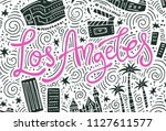 los angeles   lettering and... | Shutterstock .eps vector #1127611577