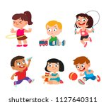 happy kids playing at... | Shutterstock .eps vector #1127640311