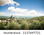 panoramic view of vinci town in ... | Shutterstock . vector #1127647721