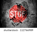 stop road sign painted on ... | Shutterstock . vector #112766989