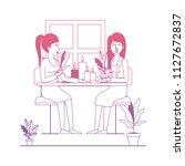 women in the table drinking... | Shutterstock .eps vector #1127672837