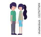 young couple avatars characters | Shutterstock .eps vector #1127677694
