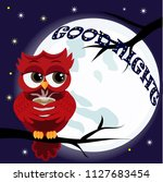 cute cartoon owl coquettish red ... | Shutterstock .eps vector #1127683454