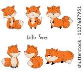 set of cute cartoon foxes.... | Shutterstock .eps vector #1127687951