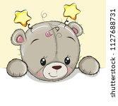 cute drawing teddy bear on a... | Shutterstock .eps vector #1127688731