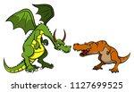 dragon versus tyrannosaurus rex ... | Shutterstock .eps vector #1127699525