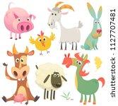cartoon farm animals set.... | Shutterstock .eps vector #1127707481