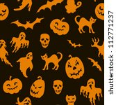 halloween seamless pattern with ... | Shutterstock .eps vector #112771237