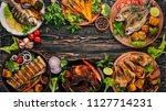 a set of food. steak  fish ... | Shutterstock . vector #1127714231