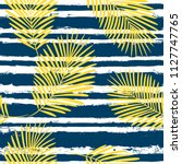 tropical pattern  palm leaves... | Shutterstock .eps vector #1127747765