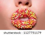 sweet lips. candies. seductive... | Shutterstock . vector #1127751179