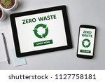 zero waste concept on tablet... | Shutterstock . vector #1127758181